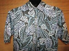 ONO & COMPANY XL Mens Short Sleeve 100% Cotton Black Floral Hawaiian Shirt