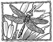 Unmounted Rubber Stamps, Dragonflies, Dragonfly Frame, Cattails, Nature, Insects