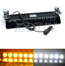 12LED FLASH STROBE LAMP BAR CAR DASH POLICE EMERGENCY WARNING LIGHT AMBER& WHITE