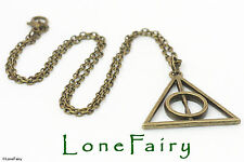 "Bronze Plated Harry Potter Deathly Hallows Necklace 18""..Length can be altered"
