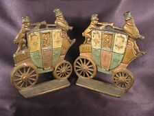 Vintage 1930's Cast Iron London Royal Mail Bookends Polychrome Marked A.A.W.-1.