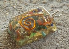 Orgone healing crystal pendant ~ natural mixed gemstone chips ~ copper spiral