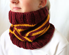 Harry Potter  Cowl Scarf/Neck Warmer Gryffindor School Colors-  Hand Knit Scarf