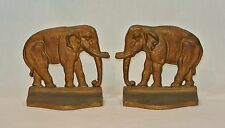 Vintage ELEPHANT Metal Pair of BOOKENDS Gold Bronze Finish Book Ends