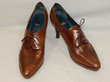BIALA ITALIAN LEATHER WOMEN'S SHOES 10 LACE UP OXFORD HEELS BROWN DESIGNER WOW