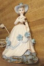 Vintage Nightlight Crinoline Lady Porcelain Irice Boudoir Vanity Lamp Light