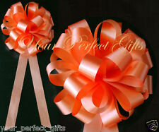 "ORANGE WEDDING 8"" BIG PULL PEW BOW BRIDAL CAKE GIFT"