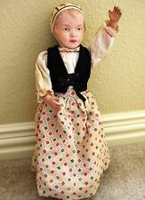 "antique SCHOENHUT ~17"" Wooden BONNET HEAD DOLL - blue eyes; 1911 US - original"
