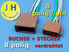 ISO BUCHSE+STECKER 8 polig / way verdrahtet Male + Female Connector wired #A296