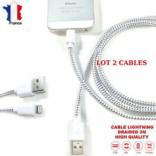 LOT 2 CABLES iPHONE 1,5A  CHARGEUR USB Durable 2M LIGHTNING i7+, 6,6s,,5s,iPAD