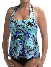 NWT New Magicsuit by Miraclesuit Sharon Blue/Black Print Tankini Swimsuit 10