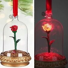 Disney Beauty & The Beast Enchanted Rose Light Up Christmas Ornament Decoration