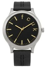 French Connection Ladies FC1138B Stainless Steel & Black Leather Strap Watch