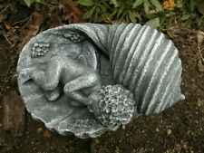 "Cement Statue 6"" Fairy Sleeping In Shell Garden Art Concrete Antiqued Finish"