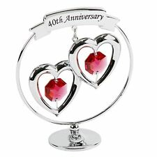 CRYSTOCRAFT 40TH RUBY WEDDING ANNIVERSARY KEEPSAKE ORNAMENT - SWARVOSKI CRYSTALS