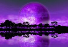 WALLPAPER MURAL PHOTO Rising Moon Alien Planet GIANT WALL DECOR PAPER Purple Art
