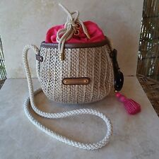 Juicy Couture Bag Palm Springs Straw Devon $148 Retail Crossbody Drawstring Pink