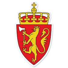 "Norway Norwegian Coat of Arms bumper sticker 6"" x 3"""