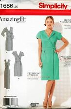 SIMPLICITY SEWING PATTERN 1686 MISSES 6-14 AMAZING FIT PRINCESS SEAM WRAP DRESS