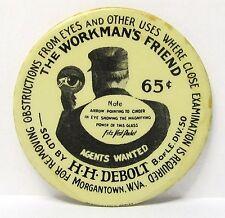 vintage H.H. Debolt THE WORKMAN'S FRIEND Morgantown WV celluloid pocket mirror *