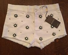 GUCCI Crystal Embellished Runway Resort White Denim Cut-Off Mini Shorts NWT 40
