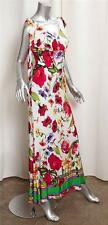 ROBERTO CAVALLI Womens White Floral Knit Sleeveless V-Neck Maxi Dress Gown 38/4