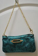 Rare JIMMY CHOO Teal Blue & Black Perforated Metallic Leather Logo Handbag $725