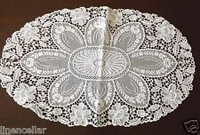 Antique Needle Lace Table Runner Doily Embroidered White Vintage 17x11""