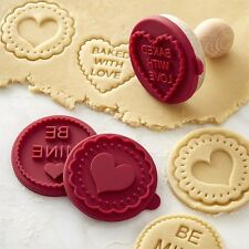 WILLIAMS SONOMA VALENTINES HEART COOKIE CUTTER SET STAMP PRESS BE MINE BAKE LOVE
