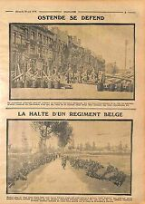 Barricade Population d'Ostende Régiment Poilus Ostende Malines Anvers WWI 1914