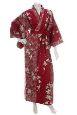 Cherry Blossom Print Long Red Yukata XL