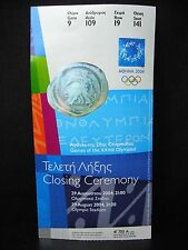 2004 Athens Olympic Ticket Stub   Closing Ceremony