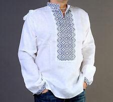 Camisa para hombre bordado de Ucrania VYSHYVANKA lino blanco CINCO DE MAYO SALE