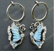 CLIP ON mini hoop CRYSTAL rhinestone BUTTERFLY WING enamel EARRINGS blue/silver