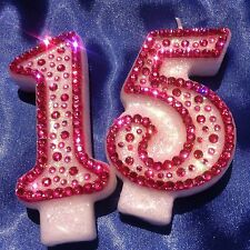 Pink Diamante Birthday CANDLE (any two digit number) Cake Topper Party FREEPOST