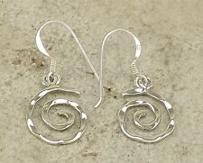 HIGH POLISH .925 STERLING SILVER HAMMERED SWIRL DROP EARRINGS  style# e1004