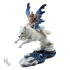 NEMESIS NOW LARGE  *FREE SPIRIT* COMPANION FAIRY WITH WOLF BRAND NEW & BOXED