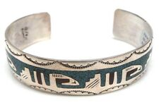 Navajo Turquoise & Coral Chip Inlay Sterling Silver Cuff Bracelet -Raymond Begay