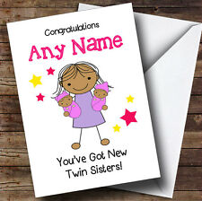 Félicitations asiatiques fille bébé nouveau twin Soeurs Personnalisé frère carte