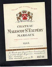 MARGAUX 3E GCC VIEILLE ETIQUETTE CHATEAU MALESCOT ST EXUPERY 1964 RARE  §19/12§