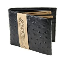 Wholesale Lot Of 12PC New Mens Ostrich Bifold Genuine Leather Wallet ID Black