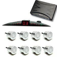 Car reverse backup parking 8 sensor front rear Slim display alarm White color