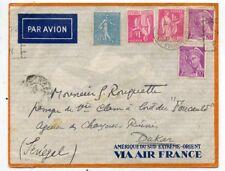 LETTRE AIR MAIL / PAR AVION / VIA AIR FRANCE PARIS AVIATION / DAKAR SENEGAL1938