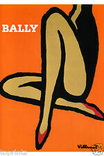VINTAGE PRINT painting  BALLY SHOES ART orange 850mm