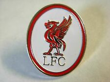 Liverpool pin badge.Liverbird. L.F.C.  Red and white Oval lapel badge Y.N.W.A.