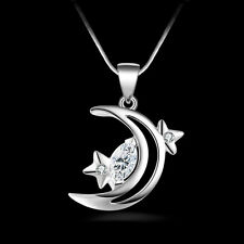 New Women Fashion 925 Sterling Silver Star Moon Pendant Necklace Chain Jewelry
