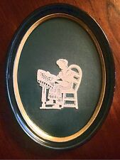 Antique Victorian Lady Silhouette lace artwork handmade black oval frame 8 X 6