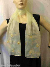 SCHAL SCARF mit Stickerei Blütenmuster Flowers with embroidery Gelb
