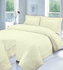 Egyptian Cotton Duvet Cover Set Plain Embroidered lace Double Single Super King