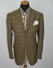 Men's ERMENEGILDO ZEGNA blazer taglia 42r MORBIDA LANA Glen Plaid MARRONE in tessuto check